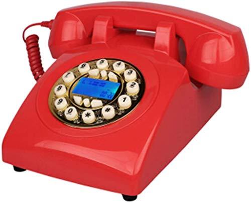 JNYTD Teléfono Retro, Teléfono Antiguo, Decoración de la Oficina del Hogar Teléfono Fijo, Rojo (Línea de Teléfono Recepción)