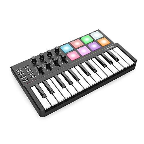 RROWER 25 anschlagdynamische Mini-Tastatur-Tasten, MIDI Keyboard Controller, 8 Pads-Controller 4 MPC, Knauf 360-Grad-Drehung, Bunte Backlit-Trigger, für Mac und PC