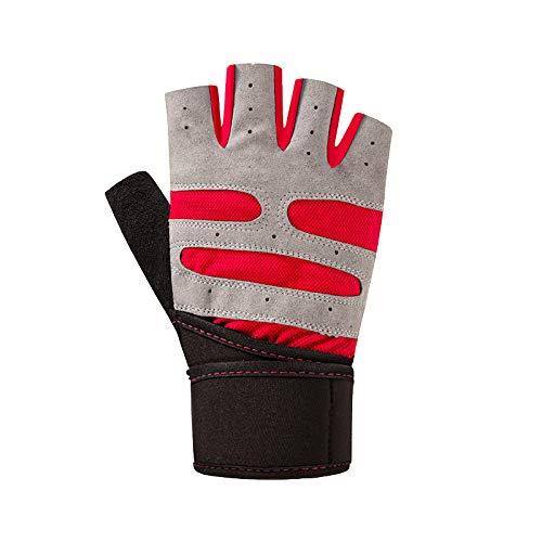 QIR-gloves Gants Fitness Hommes et Femmes Spinning Vélo Poignet Skid Portable Fer à Repasser Respirant Half Finger Exercise Equipment Dumbbell Movement, S, Rouge
