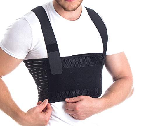 Männer Brust-Korsett mit Brustgurt mit Hosenträger Ideal bei koronaren postoperativen gebrochenen Rippen und Brustbein Schwarz Medium