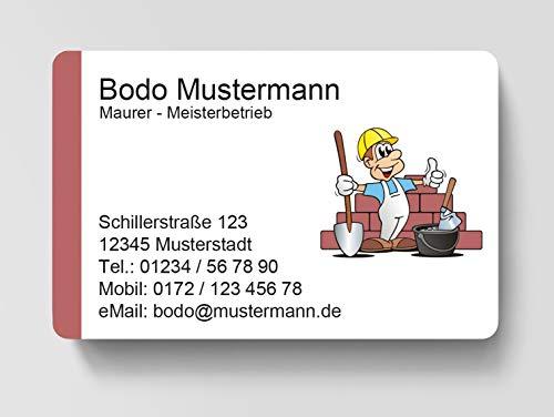 100 Visitenkarten, laminiert, 85 x 55 mm, inkl. Kartenspender - Maurer Bau