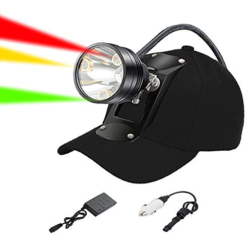 GearOZ Coon Hunting Lights Headlamp for Coyotes Hog Predators, Rechargeable & Waterproof, 6 Lighting Modes, 4 Powerful LEDs (White Red Green Amber) with Black Hunting Hat Perfectly for Night Working
