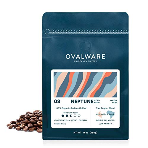 Ovalware 08 Neptune - Cold Brew, Organic Medium Roast Whole Coffee Bean, Colombia and Brazil Blend (1lb / 16oz)