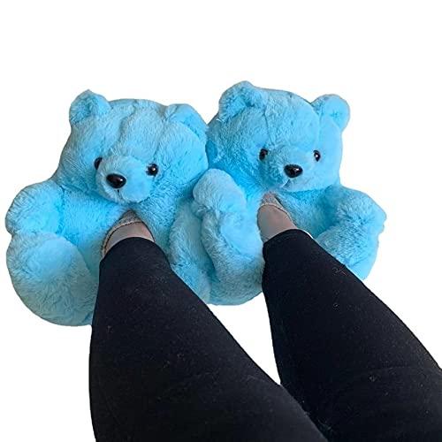 Tengke Plüsch-Hausschuhe, kreativer Teddybär-Hausschuh, für den Boden, dick, warme Schuhe (blau, ein Code 26 cm)