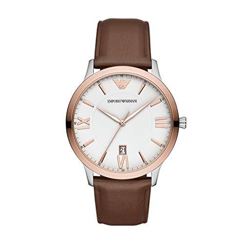 Emporio Armani Herren Analog Quarz Uhr mit Leder Armband AR11211