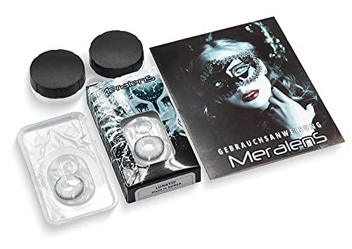 Farbige Kontaktlinsen 1 Paar weisse schwarze Lunatic Vampir mit schwarzem Rand 1 Paar. Topqualität zu Halloween, Fasching, Fastnacht, Karneval Halloween gratis Kontaktlinsenbehälter ohne Stärke - 5