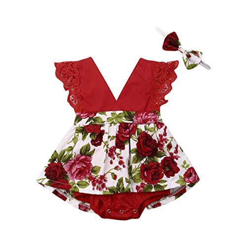 Toddler - Conjunto completo de 2 pelele para bebé con tutú y falda de tutú, con cuello en V, encaje y pantalones con lazo