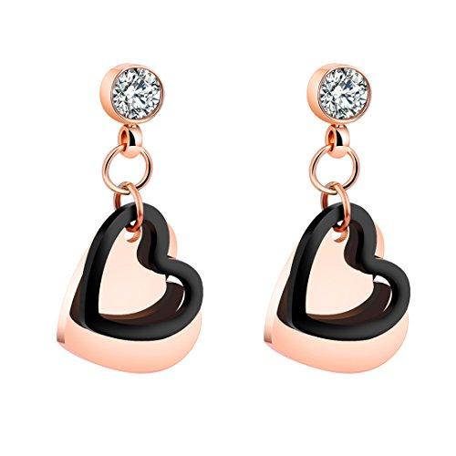 B.Z La Vie Pendientes para mujer de acero inoxidable con forma de corazón, chapados en oro rosa y negro, estilo moderno