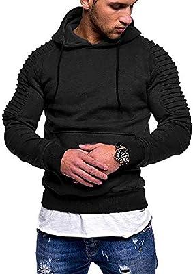 COOFANDY Men's Sweatshirt Long Sleeve Drawstring Hooded Hipster Gym Pullover Hoodies Black