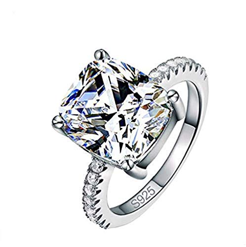 Xiaodou 4 Carat Emerald Cut Ring Baguette Solitaire Cubic Zirconia CZ Engagement Sterling Silver Band Jewelry Engagement Ring (9)