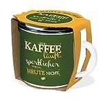 Emaille-Becher 'Kaffee läuft' 300ml: in Geschenkverpackung! Bruchsicher, auch für Camping und Picknick (Geschirr)