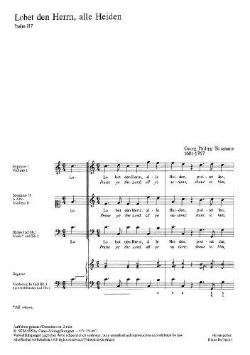 Telemann: Lobet den Herrn, alle Heiden (II) (TVWV 1:1060/1). Partitur (20 St.)