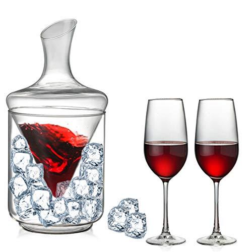 Decantador de cubitos de hielo de 1 l, aireador de vino sin goteo, whisky o brandy y ron, juego de decantador de vidrio sin plomo, regalo de vino adecuado para fiestas de verano.