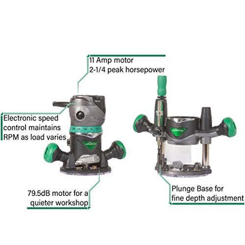Metabo HPT Router Kit   Fixed/Plunge Base   Variable Speed   11 Amp Motor   2-1/4 Peak HP   KM12VC
