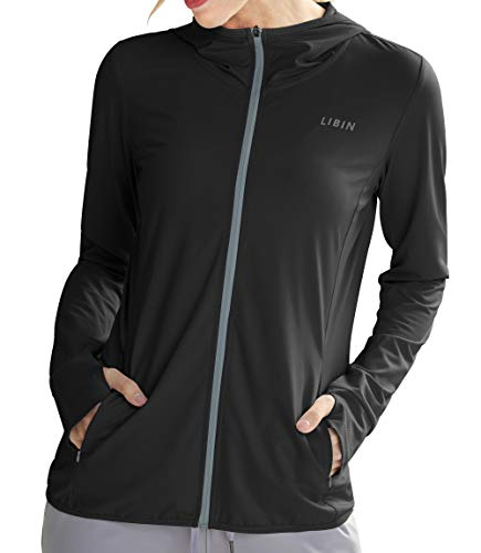 Libin Women's Full Zip UPF 50+ Sun Protection Hoodie Jacket Long Sleeve Sun Shirt Hiking Outdoor Performance with Pockets Black S