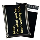 RUSPEPA Poly Mailer Shipping Bag with Self Sealing, Business Text Printed Design 2.3 Mil Heavy Duty Self Seal Mailing Envelopes, 100 Pack 10 x 13 inches, Black