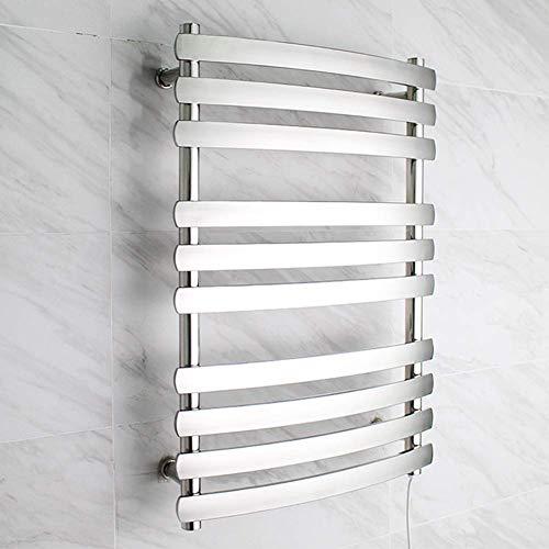 JHGF Calentador de Toallas, toallero eléctrico Antideslizante Curvo, Rejilla calefactora de Toallas de Acero Inoxidable 304 de 10 Barras es un Hotel, peluquería, Cocina, baño, cableado