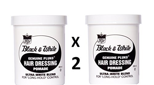 Black and White Pluko Hair Dressing Pomade 200ml **TWIN PACK** by Black and White