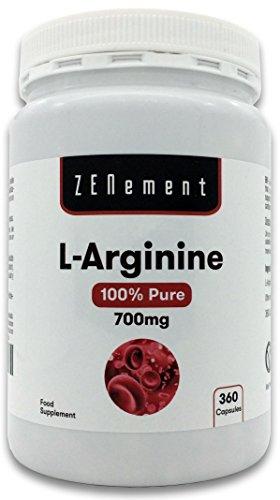 L-Arginina 100% Puro, 700 mg, 360 Capsule | Vasodilatatore, promuove la prestazione atletica e lo sviluppo muscolare | Vegan, non OGM, Senza Additivi, Senza Glutine, GMP