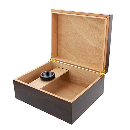 kogu Humidor Set Walnuss Dekor Holz Optik Dunkelbraun, für 25 Zigarren inkl. Acrylpolymer-Befeuchter, Trennleiste
