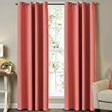 Blackout Curtains and Drapes - Triple Weave Energy Saving Solid Coral Curtains for Girls Room Thermal Insulated Gromment Curtain Panels, Coral Drapes for Kids Room, Coral, 2 Panel, 52' W x 84' L