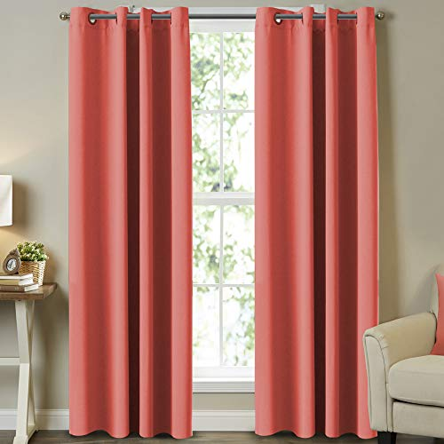 """Blackout Curtains and Drapes - Triple Weave Energy Saving Solid Coral Curtains for Girls Room Thermal Insulated Gromment Curtain Panels, Coral Drapes for Kids Room, Coral, 2 Panel, 52"""" W x 84"""" L"""
