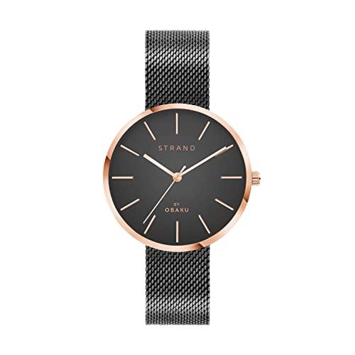 Strand Denmark - Minimalistische Damen Armbanduhr mit austauschbarem Edelstahl Mesh Armband (35mm) - wasserdichte Uhr Damen (Grau)