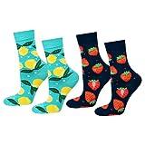 soxo lustige Damen Lange Socken | Größe 35-40 | Bunte Damensocken aus Baumwolle mit witzigen Motiven | Besondere, mehrfarbig gemusterte Socken für Frauen | Zitronen & Erdbeeren