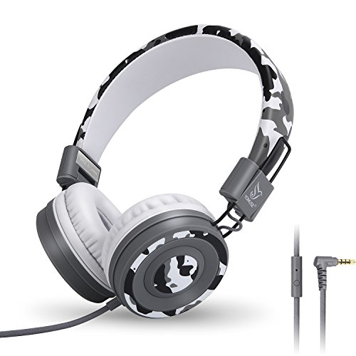 Yomuse C89 On Ear Foldable Headphones with Microphone, Adjustable Headband for Kids Adults, iPhone iPad iPod Computers Tablets Smartphones DVD, Camo Grey
