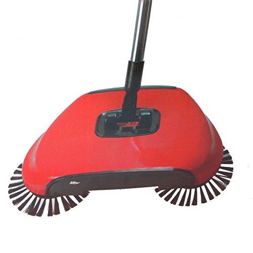 Deluxa 3in1 Bodenkehrer | 360° drehbar | schnelle Entleerung | einfache Reinigung ohne Strom (rot)