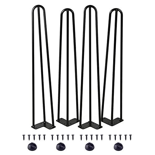 LASHI 4 Patas Mesa Patas Hairpin Patas A Horquilla para Mesa De Acero Patas Muebles Robustas con Tornillos Y Bases Protectoras para Mesa Y Mueble (Color : Black, Tamaño : 40cm/15.7in)