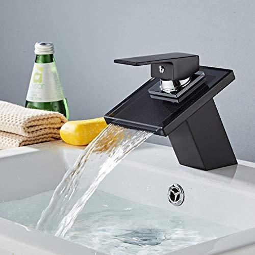 Negro del baño de cristal cascada grifo del baño del grifo del lavabo negro Pintura caliente y fría bajo presión grifo de agua del grifo del fregadero negro