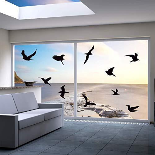 QUALIVEAU® 10-18cm große Aufkleber zum Schutz vor Vogelschlag | Komplett – Set mit Verklebehilfe | Farbe: Schwarz