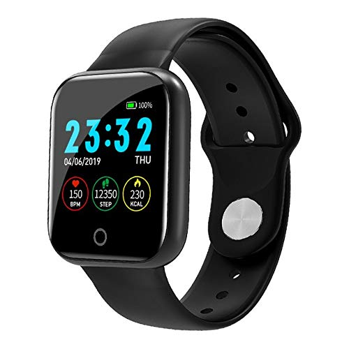 Smartwatch I5 Smart Watch Pedometer Frauen Männer Smartwatch Herzfrequenz Sport Fitness Tracker IP67 Wasserdichtes Fitness Armband Tracker Band (Color : Black)
