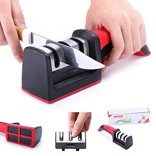 Kitchen Knife Sharpener, 3 Stage Knife Sharpener Stone Help Chef's Knives Repair Restore Polish Blades Quickly Professional Handheld House Portable Removable Sharpener for Knives