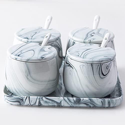 PPuujia Tarro de especias para el hogar, caja de condimentos de cerámica doble, juego de tarros creativos de mármol gris salero sazonador botella suministros de cocina (color: rojo)