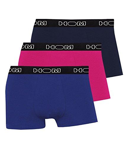 HOM Herren Boxershorts Boxer Brief Unterhosen Boxerlines 400389 3er Pack, Farbe:Mehrfarbig;Wäschegröße:XL;Artikel:-V003 blau/rosa/Navy