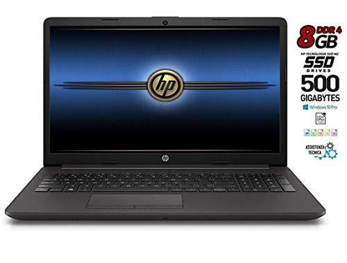 Notebook portatile HP 255 G7 8Gb DDR 4 SSD M.2 da 500GB, CPU Amd 7G., con Svga Radeon R3, Display 15.6 HD antiriflesso LED, bt, wi-fi, Windows 10 Pro 64, Pronto all'uso, Garanzia Italia