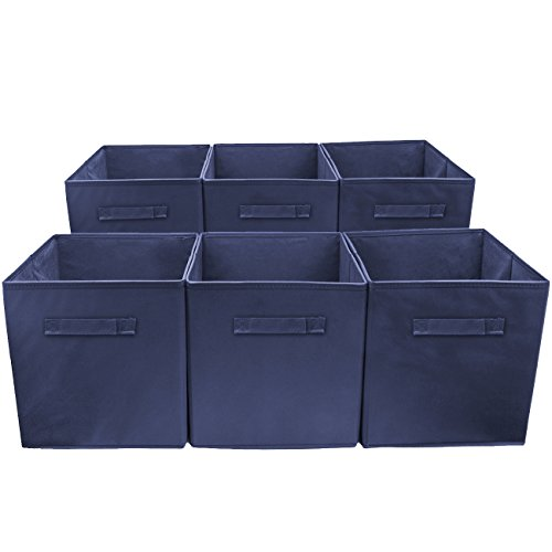 Sorbus Foldable Storage Cube Basket Bin 6 Pack Navy Blue