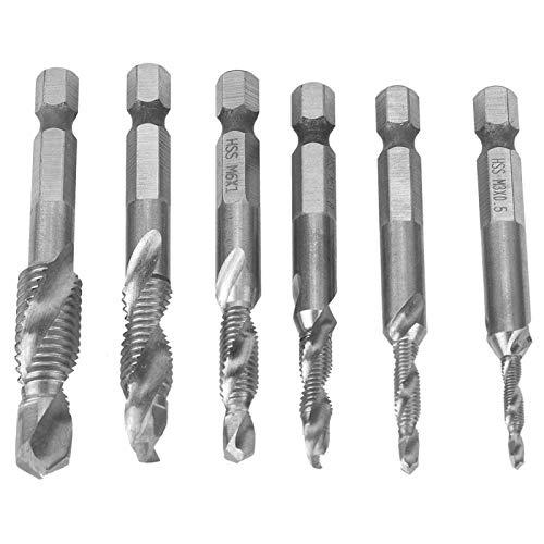 6 uds, Juego de brocas combinadas de vástago hexagonal, juego de brocas para taladro de 6,35mm, vástago hexagonal M3 / M4 / M5 M6 / M8 / M10 HSS, grifo compuesto de perforación(Recubierto de plata)