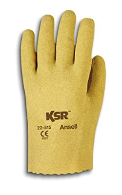 Ansell KSR 22-515 Vinyl Glove, Coated on Interlock Knit Liner, (Pack of 12 Pairs)