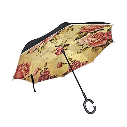 Paraguas invertido de Doble Capa, a Prueba de Viento, para Exteriores, para Lluvia, Sol, para Coche, con Mango en Forma de C, patrón de Flor