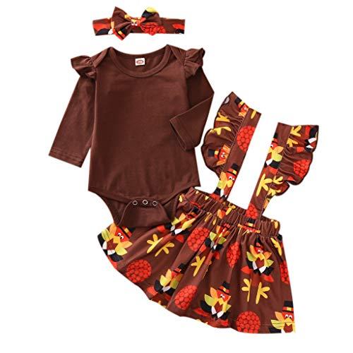 Juego de 3 piezas de ropa para recién nacida de Halloween + falda de tirantes + diadema con lazo, diseño de pavo de dibujos animados