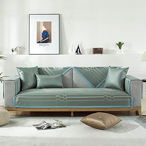 KENEL Funda Cubre Sofá, sofá Funda de 3 2 4 1 Plaza, Funda de sofá de terraza, Funda para Banco/Silla,para Mascotas niños niños Perro gato-110x160cm_Green-b-Vendido en Pedazos