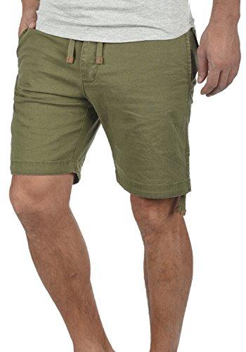 Indicode Moses Herren Leinenshorts Kurze Leinenhose Bermuda Mit Kordel Regular Fit, Größe:S, Farbe:Dark Olive (644)