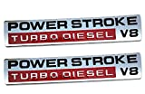 2Pcs Power Stroke Turbo Diesel V8 Fender Emblems, Replacement for F250 F350 F450