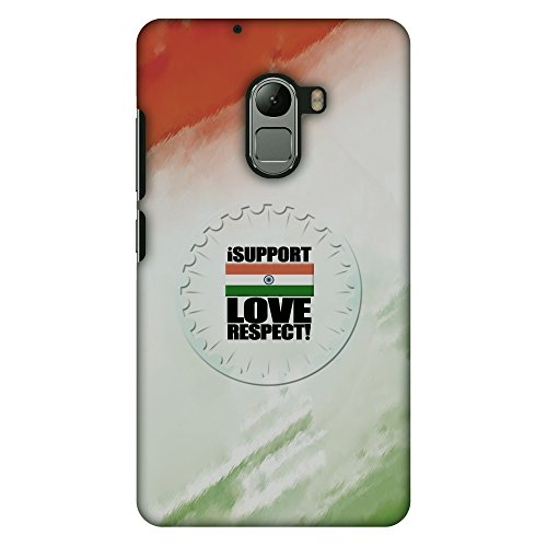 AMZER Slim Handcrafted Designer Printed Hard Shell Case Back Cover for Lenovo K4 Note A7010 - I Support Love India