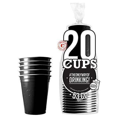 Pack de x20 Original Black Cups Officiels | Gobelets Américains 53cl Noirs | Beer Pong | Qualité Premium | Gobelets en Plastique Réutilisables | Lavables Main et Lave-Vaisselle | OriginalCup®