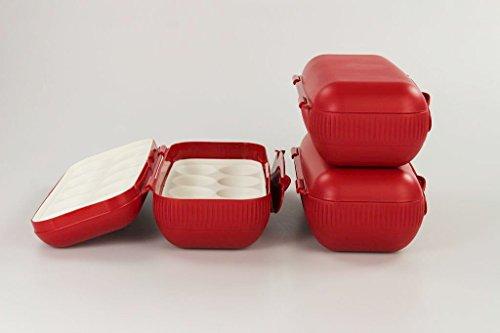 TUPPERWARE Kühlschrank Eierbox rot (3) Eier Box Aufbewahrung Dose Ei Kolumbus