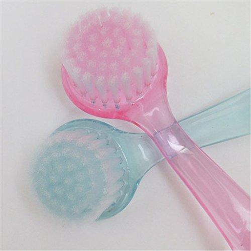 Brosse visage exfoliant Transparent avec housse en nylon pour nettoyer la peau et les pores couleur aléatoire